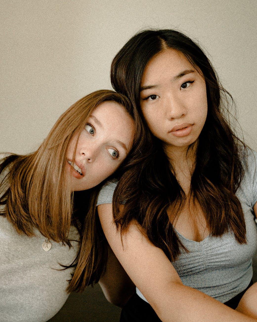 two women taking selfie